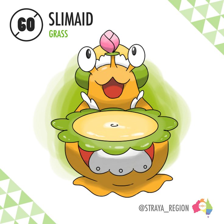 Second last evolution before the final BIG reveal! - 060: Slimaid (slime + maid) The False Slug Pokémon Type: Grass Ability: Imitate/Triage (HA) Evolves from Germini starting at Lv. 25 with a Pokémon from the 'Amorphous' Egg group in party - When Germini is levelled up in close proximity to an amorphous Pokémon, it will evolve into the False Slug Pokémon, Slimaid. Slimaid are one of the humblest and most hospitable Pokémon in the world, dedicating their everyday routine to serving the…