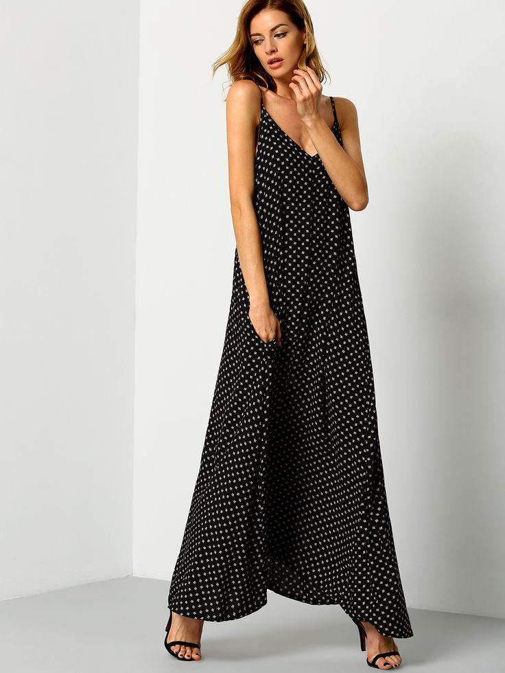 Black+Braces+Deep+V+Neck+Floral+Houndstooth+Print+Cami+Slip+Dress+25.00