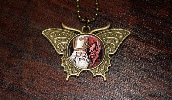 Krampus Necklace, Christmas Horror, Oddities, Spooky Jewelry