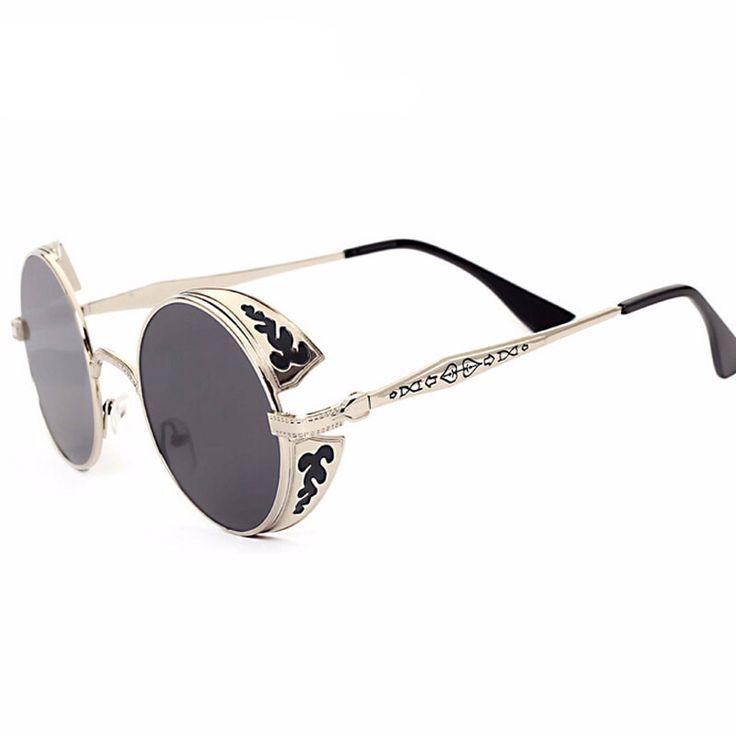 Steampunk Sunglasses Vintage Round Metal  Mirror
