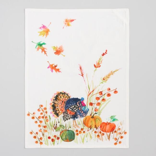 Watercolor Turkey Kitchen Towel V2 Towel Collection Linen