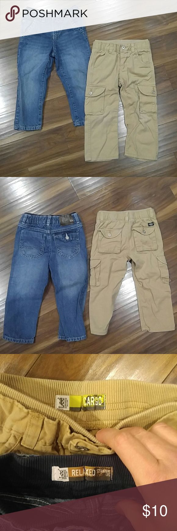 Lee Dungarees 3T One pair of jean strait leg Dungarees with comfort waist band and one pair khaki cargo Dungarees with comfort band. Khaki have slight wear on pockets at knee. Otherwise is great shape. Both size 3T Lee Bottoms Jeans