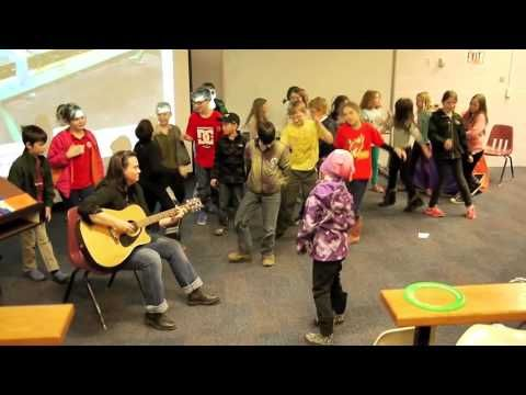 Author Philippa Dowding plays the Gargoyle Shuffle in North Bay