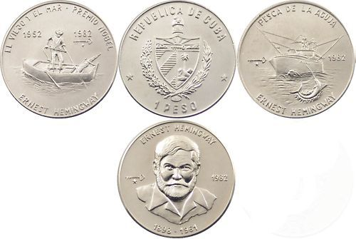 Архив : Куба набор из 3-х монет 1 песо 1982 Эрнест Хемингуэй