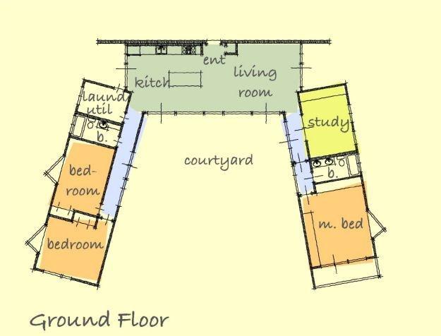 U-shaped ranch house by architect Gregory La Vardera...
