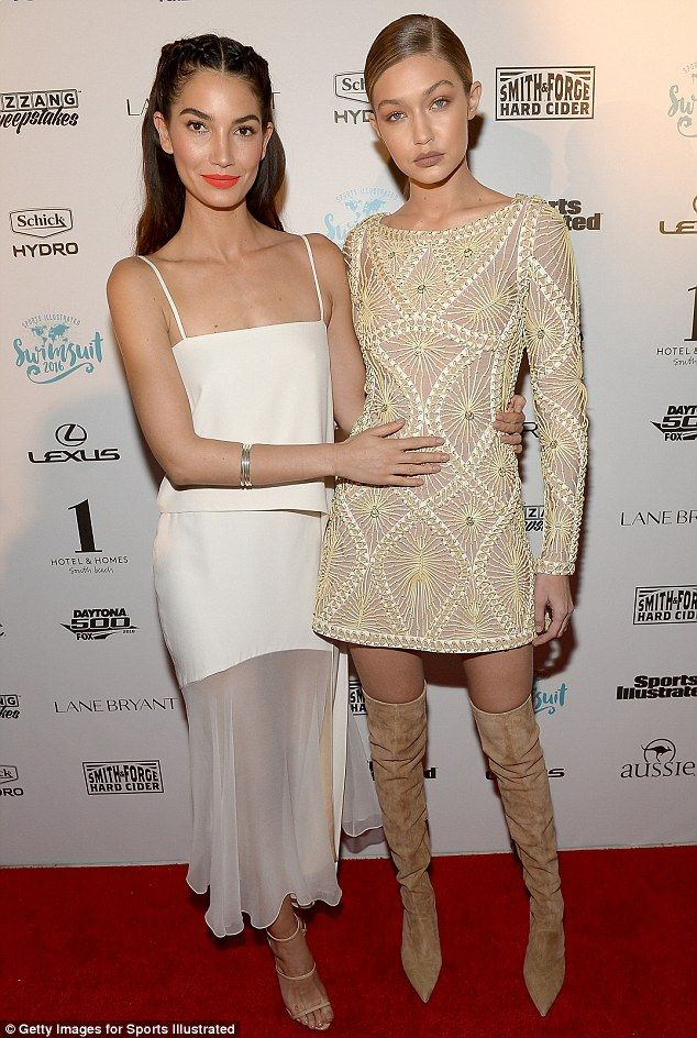 Model BFFs:Lily Aldridge (left) and Gigi Hadid (right) looked cute as they arrived togeth...