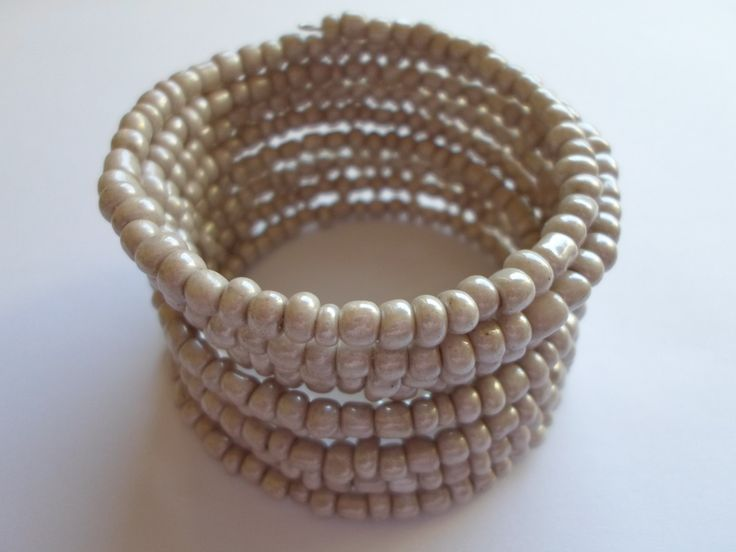 S A L E !!! Cappuccino  glass seed beads bracelet. Wire wrapped cappuccino bracelet. by SiDaStyle on Etsy