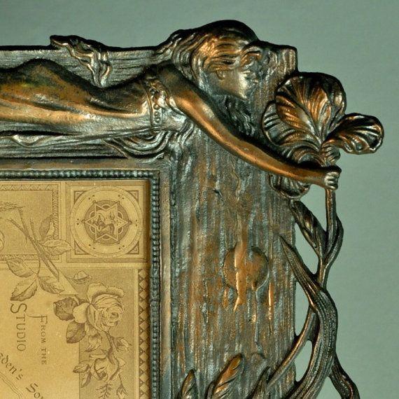 Antique Picture Frame Art Nouveau Figural Bronze Frame Home Decor Edwardian Accessories Ephemera Advertisement Portrait