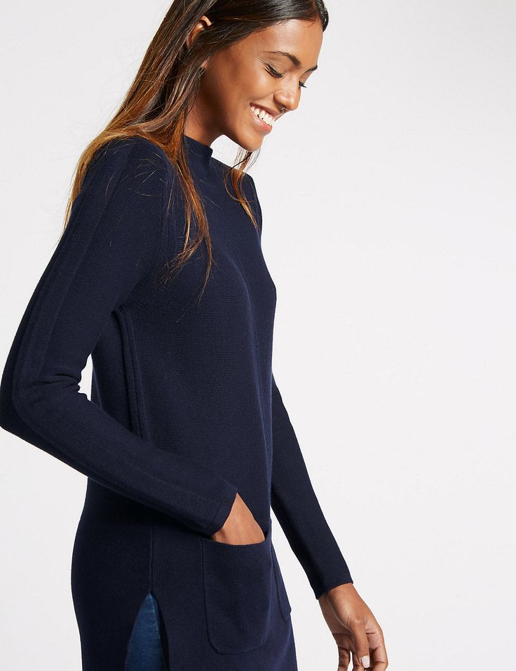 Funnel Neck Tunic Jumper http://www.sizestyler.co.uk/product/buy/ms-collection-funnel-neck-tunic-jumper-16021549