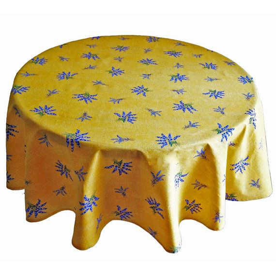Yellow with Allover Lavender Tablecloth, Round Yellow Tablecloth, French Provence Tablecloth