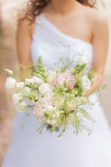 Bouquet Inspiration: A #mint, #ivory and #pink bouquet | Romantic, Classically Beautfiful Wedding In Slovakia — Loverly Weddings