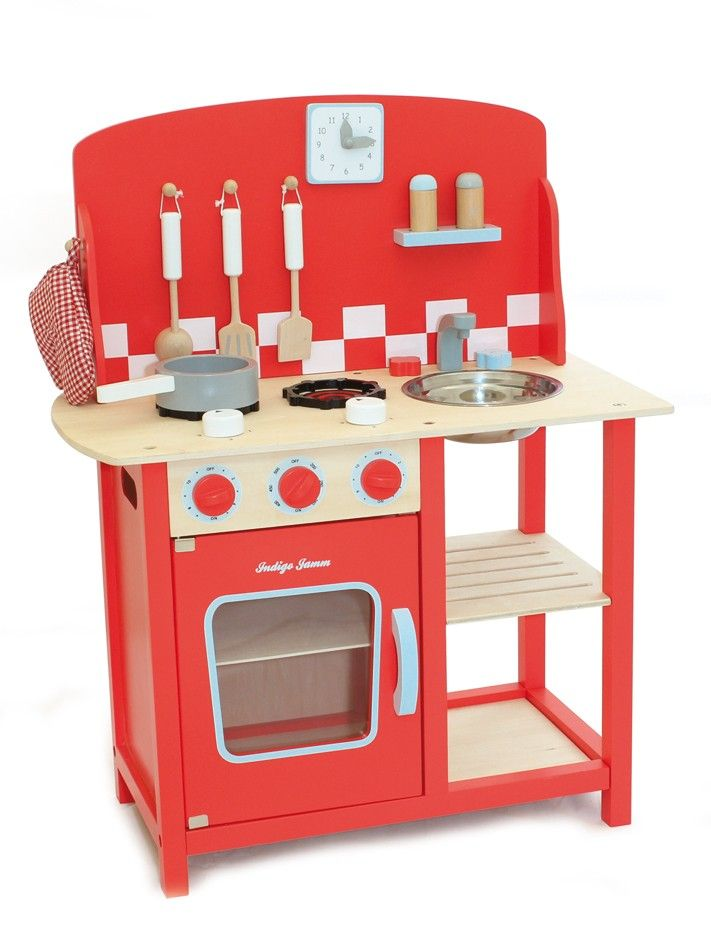 Indigo Jamm Wooden Kitchenette Diner Red  With knobs to turn, a door to open and saucepans to dash off with, perhaps this will keep my budding chef away from my kitchen? Well, probably not, but I'm sure he would have hours of fun with this kitchenette!  #EntropyWishList #PinToWin