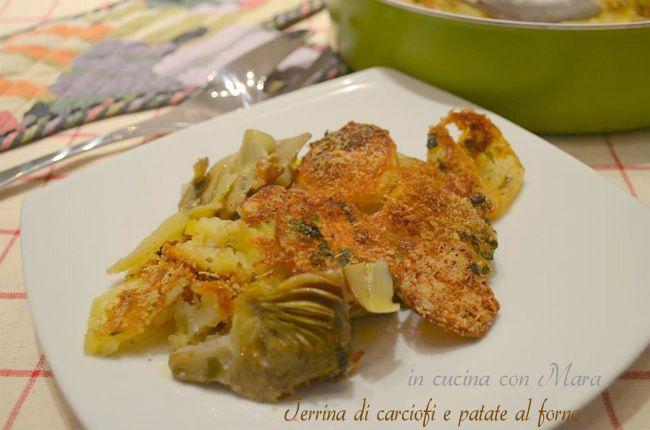 Oggi vi propongo una semplicissima terrina di carciofi e patate al forno, un saporito contorno che può essere servito anche come piatto unico.