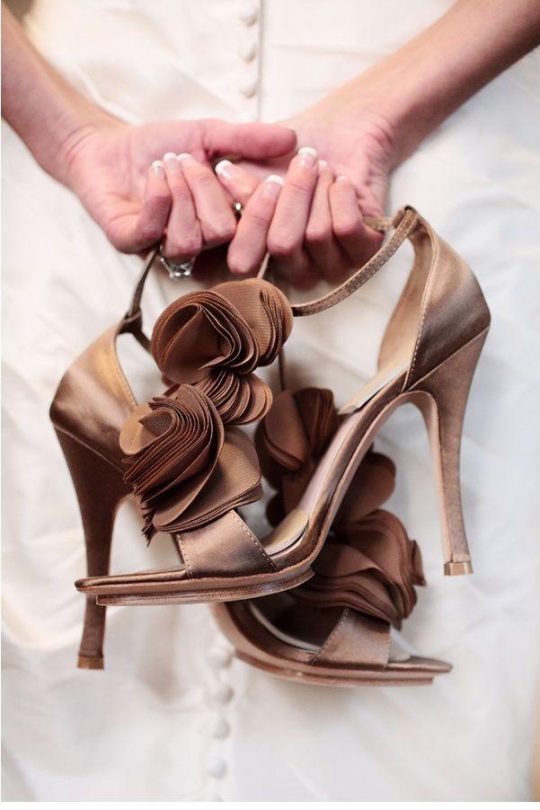 brown wedding shoes - see more brown wedding ideas : http://www.itakeyou.co.uk/wedding/brown-wedding-ideas/