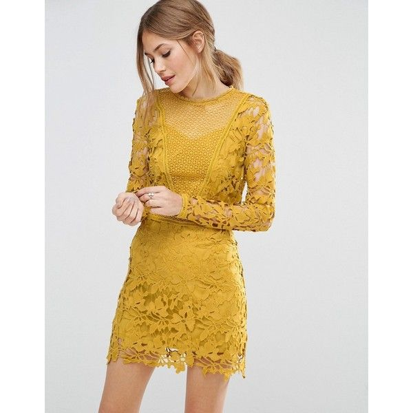 ASOS Mustard Lace Long Sleeve Panelled Shift Dress ($110) ❤ liked on Polyvore featuring dresses, yellow, yellow shift dress, yellow lace dress, lace dress, long-sleeve floral dresses and asos dresses