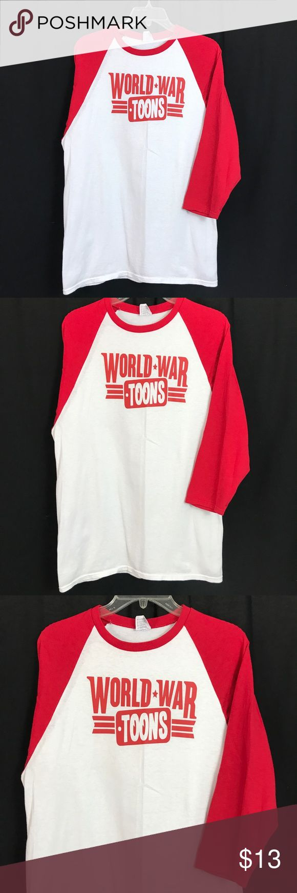 World War Baseball Graphic Tee Shirt Medium Red Men's Medium - World War Toons - Red/White Baseball T Shirt - excellent condition - FAST SHIPPING! anvil Shirts Tees - Long Sleeve
