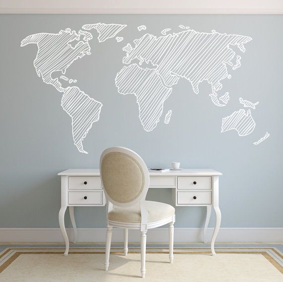 9 FEET Map Wall Decal. Wall Sticker. Removable por decoryourwall