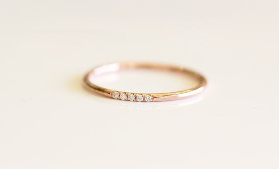 14K Rose Solid Gold Micro Pave Diamond Wedding Band by KHIMJEWELRY