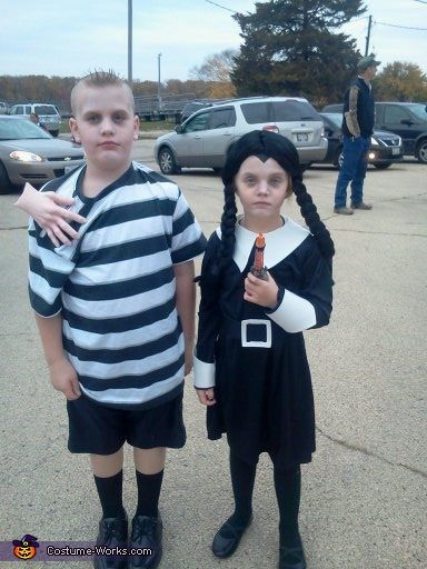 Wednesday and Pugsley Addams - Halloween Costume Contest via @costume_works