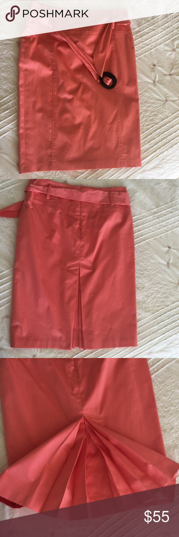 Strenesse - Gabriele Strehle coral pencil skirt Never worn. Beautiful detail on belt and back pleat. Strenesse Skirts Pencil