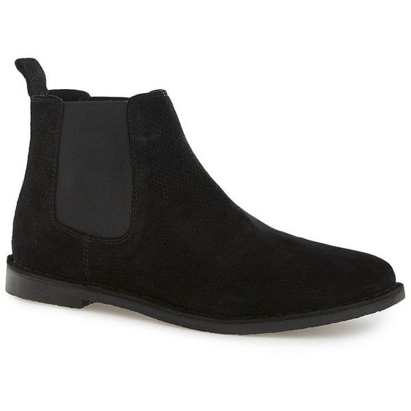 TOPMAN Black Suede Chelsea Boots (145 BRL) ❤ liked on Polyvore featuring men's fashion, men's shoes, men's boots, black, mens black boots, mens black suede shoes, topman mens shoes, mens suede boots and mens black suede chelsea boots