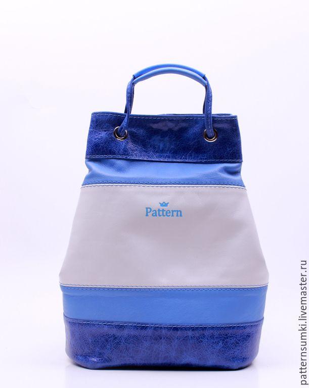 Купить Авторская кожаная сумочка Pattern Riverside - голубой, в полоску, хольнитены, аксессуары