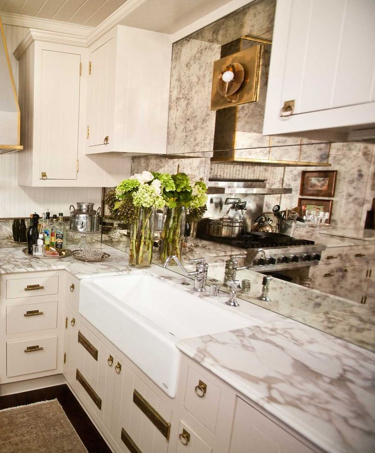 UECo   Portfolio   Environment   Kitchen | Antique Mirror Backsplash |  Brass Ring Hardware