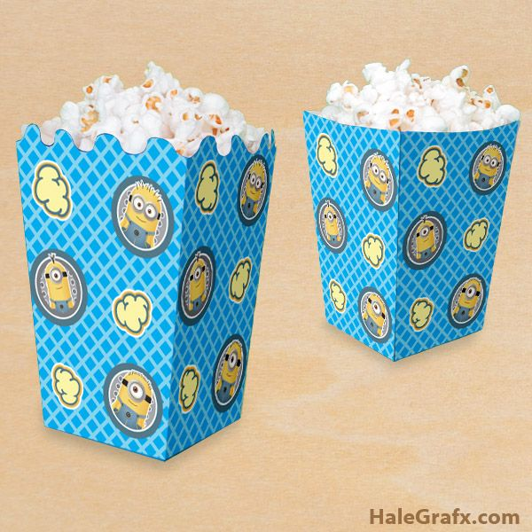 FREE Printable Despicable Me Minion Popcorn Box