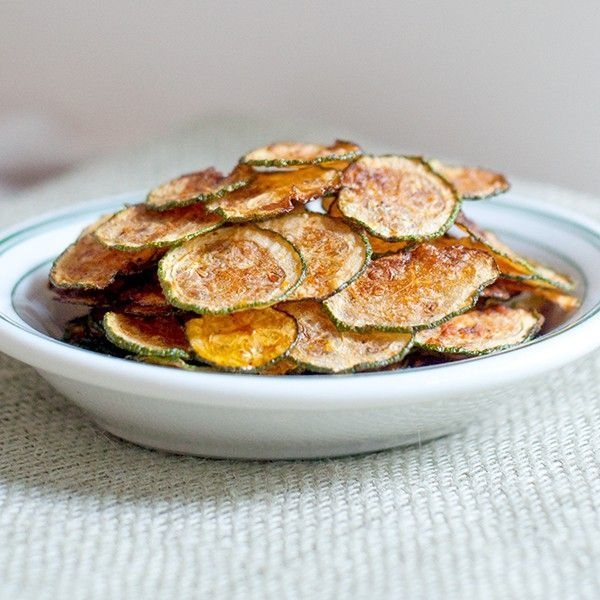 Zucchini Chips - Crispy, crunchy zucchini chips! Great alternative to potato chips.