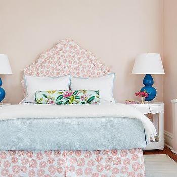 Brigitte 1-Drawer Side Tables, Transitional, Girl's Room Lulu DK Schumacher Headboard Bedskirt Robert Abbey blue lamp bedside