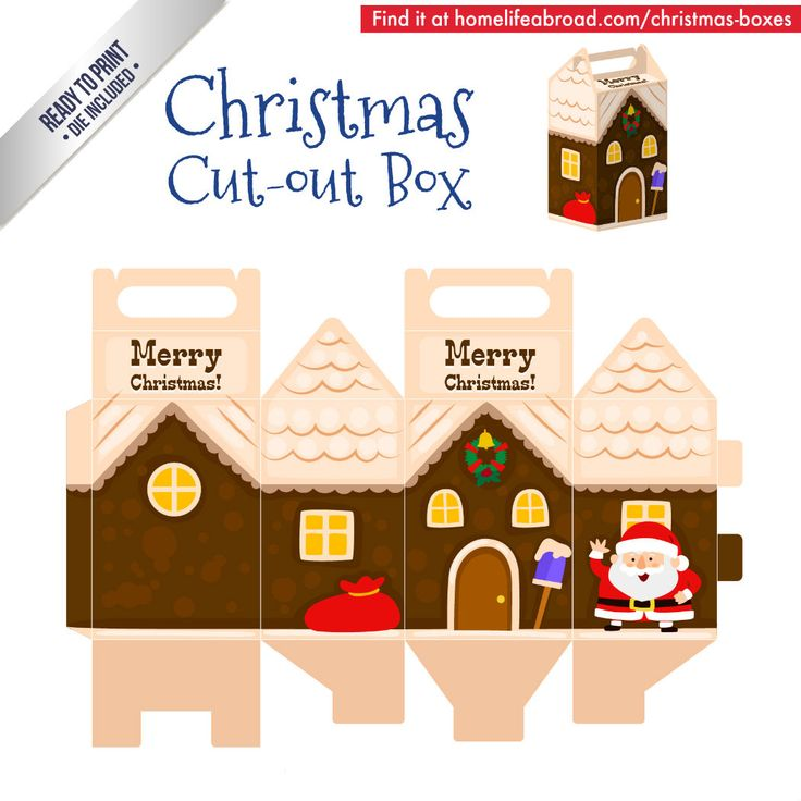 Christmas Santa House Cut-Out Box - with ready to print templates! Check out all the boxes & download at @homelifeabroad.com #christmasgifts #christmasboxes #christmastemplates #christmasprintables #xmas #DIY #boxes #christmasDIY #christmascrafts