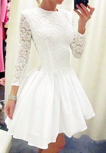 White Homecoming Dress,Cute Prom Dress,Lace Prom Dress,Sleeve Dress,Short Prom Dresses