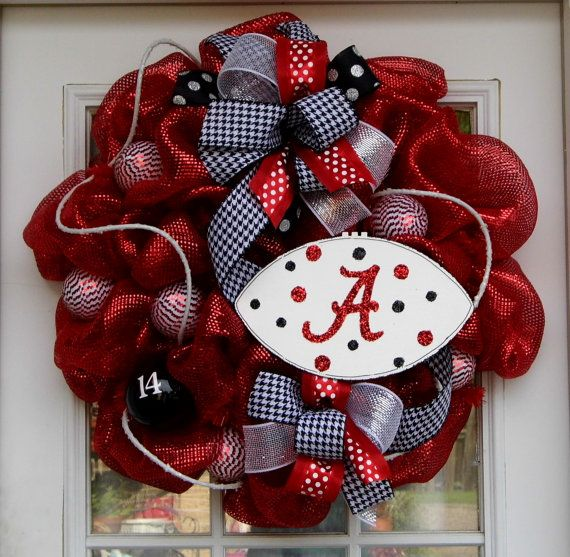 Love it. Alabama Wreath Football Wreath Mesh Wreath. $65.00, via Etsy.
