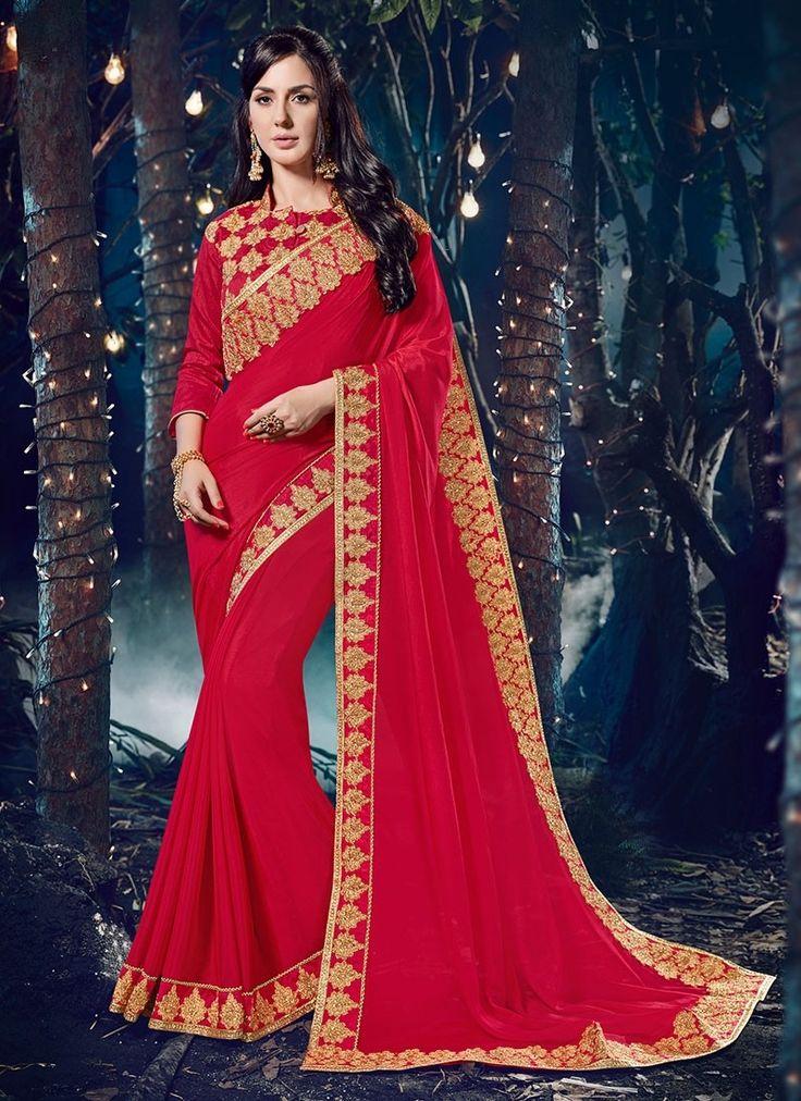 Shop Online Red Chinnon #DesignerSarees @Chennaistore.com
