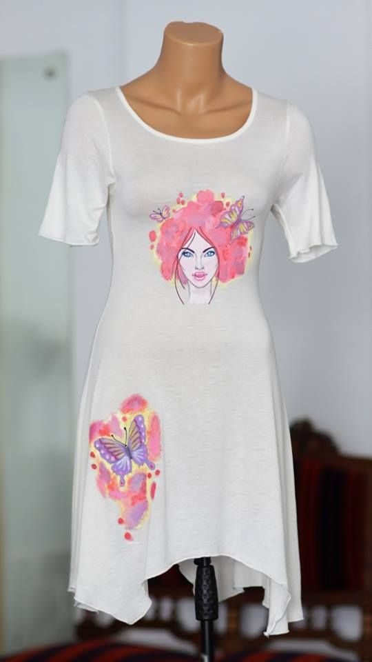 Handmade painted dress with textile colors. Spring lady design.