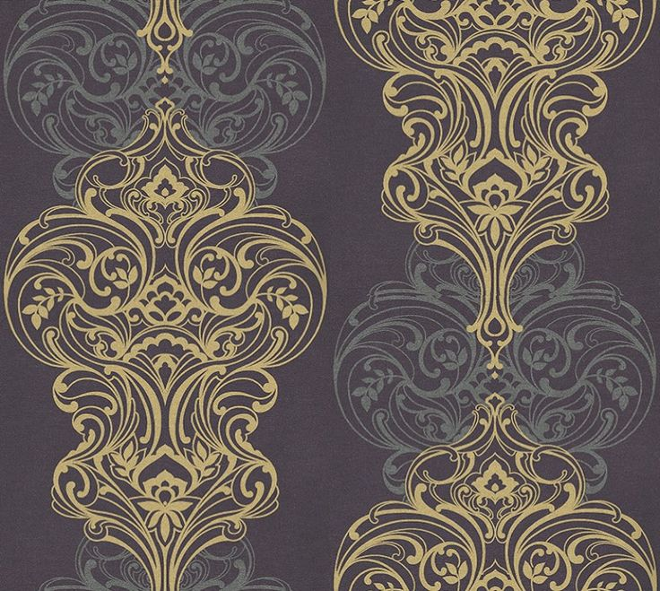 Classico Aubergine (DW1583/02) - Kandola Wallpapers - Classico presents a stylish and daring design, which incorporates elements of delicate floral arrangements within this lavish damask pattern.  artistic impression of woven silk fabric texture, with an echo effect pattern background to contrast with the focal point of the damask design. shown in deep purple, silver and metallic gold. Other colour ways available. Paste the wall product. Please request a sample for colour match.