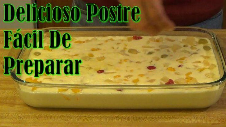Postre De Gelatina Con Queso Crema, Frutas Y Malvaviscos