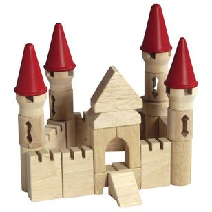 Transitional Kids Toys by Cymax Guidecraft Hardwood Table Top Castle Blocks $29.36