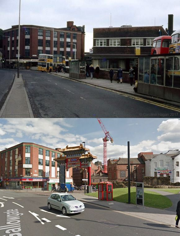 Gallowgate - then and now | I cam across the photo on the top, and knew I recognised that bus depot to the right. Initially I thought it was the one at Slatyford, Fenham. But that building on the left had me stuck. Then I realised it was the Irish Centre at Gallogate.  I've added the Google Street View for comparison :-)