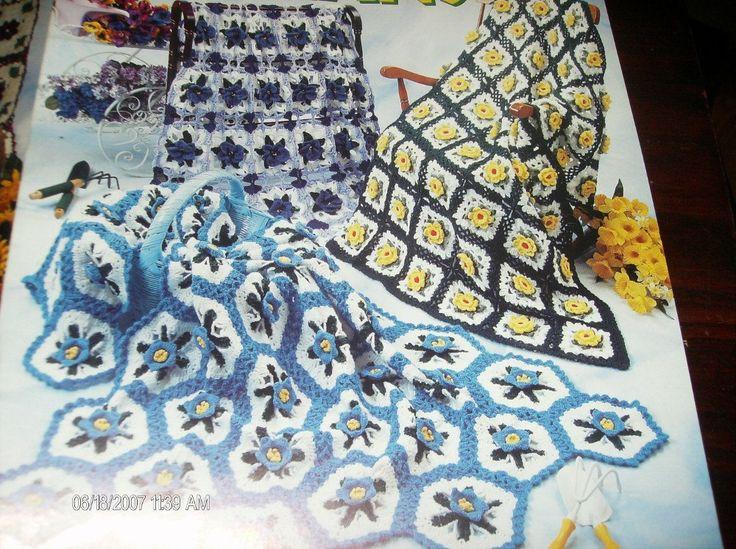 💮 💮 Afegãos Crochê Padrões Flores de Jardim Elegantes Pontos -  /  💮 💮 Afghans Crocheted Default Flowers Garden Classy Stitches -