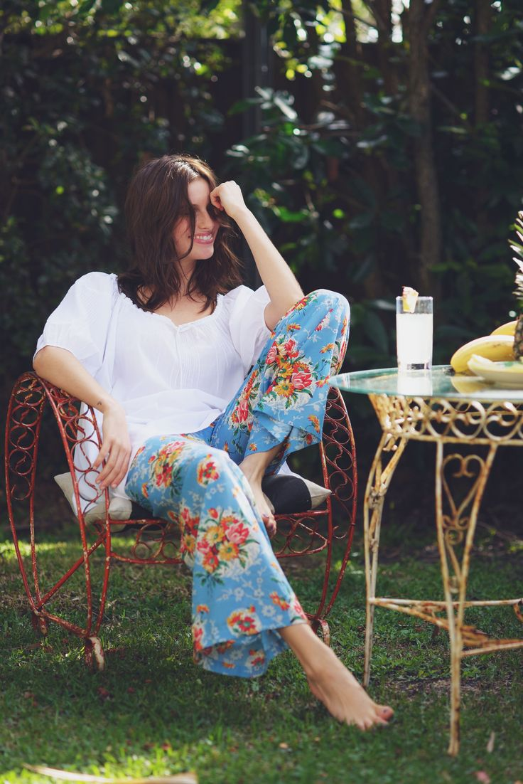 Kate pants in Blue Lagoon with Marina Top in White