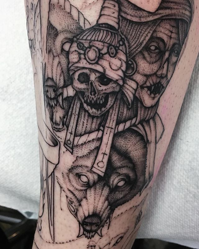Work In Progress Good Start Goreshock Booking Chicago For June Wolf Wolftattoo Darkartists Detailed Tattoo Blackwork