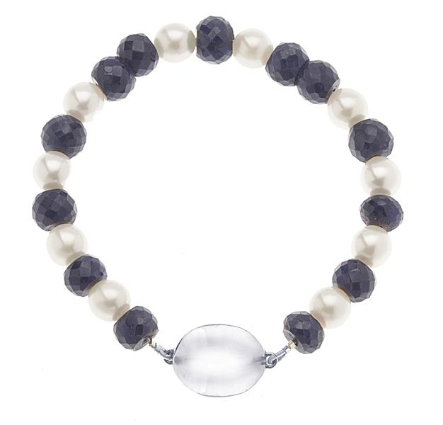 Faceted Sapphire Bead and Cultured Pearl Bracelet with Sterling Silver Clasp. So pretty and so wearable!