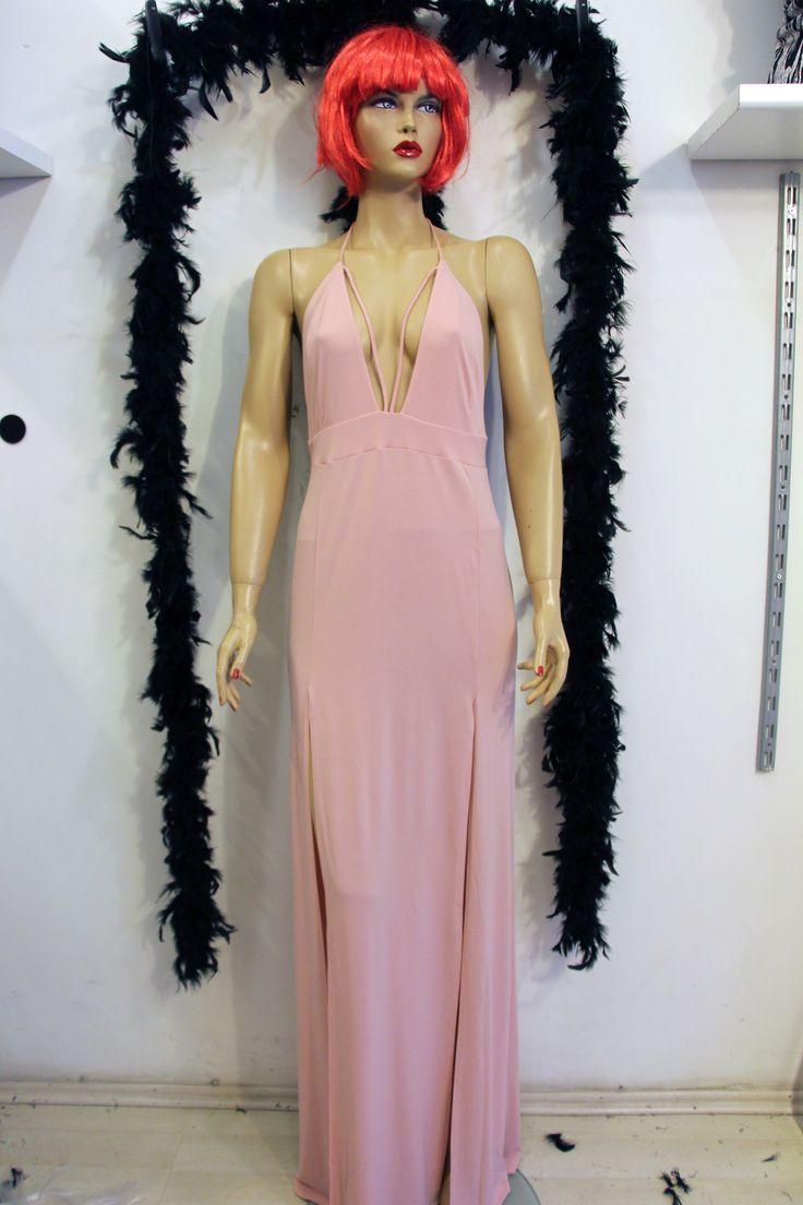 Pictures gece elbise modelleri 2013 uzun dekolteli gece elbise modeli - S Rt A K G S Dekolteli Y Rtma L Pudra Rengi Pembe Uzun Abiye Gece Elbisesi