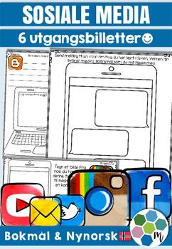 """Sosiale media spiller en rolle i elevenes liv, og mange av dem (som oss voksne) syns det er kjekt  bruke tid p ulike platformer. Disse utgangsbillettene er laget for  """"korke"""" kunnskap p slutten av en time. Hva har de lrt? Hva sitter de igjen med? De kan brukes i alle fag og til alle emner.I dette opplegget fr du: 6 ulike design: Twitter, Facebook, Instagram, YouTube, blogg og sms/messenger To maler p hver side for enkel utskrift Bokml og nynorsk A N D R E  G O D E  O P P L E G G: $4.00"""