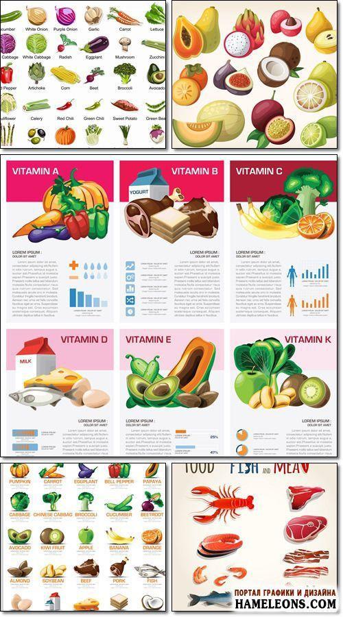 В векторе продукты питания - овощи, фрукты, рыба, мясо, молоко и витаминно-полезные диаграммы |  Fish and meat, fruits