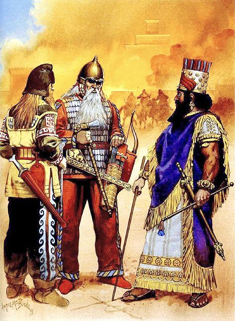 """Nabopolassar, king of Babylon, and the king of Scythia at the fall of Nineveh, 612 BC"", Angus McBride"