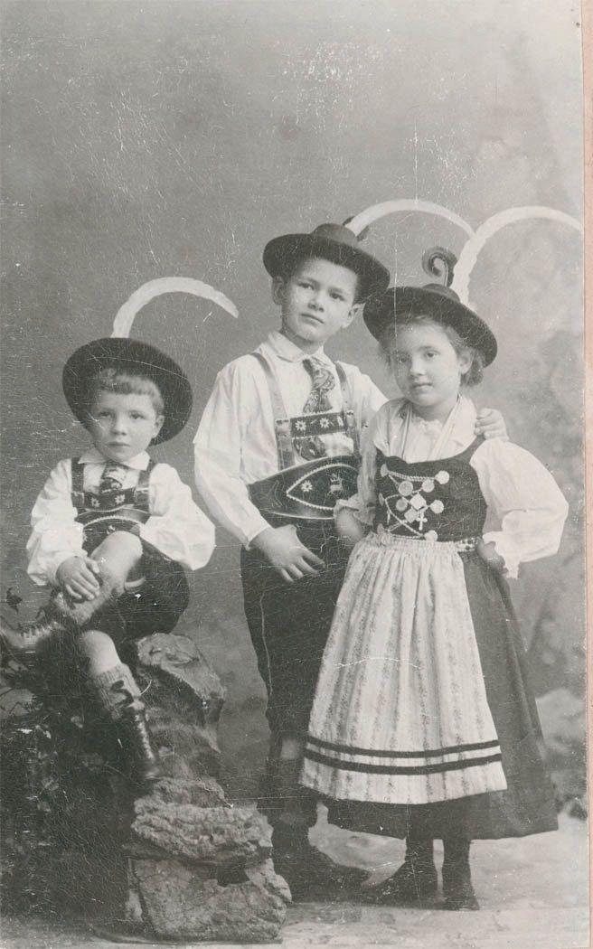 vintage photo German Alpine Children pose in Beautiful traditional costume 1899. $4.75, via Etsy.