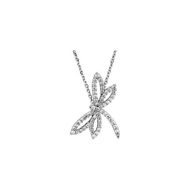 14K White Gold Dragonfly Necklace