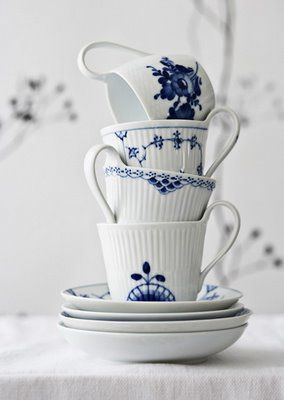 blue and white china by Royal Copenhagen - 'Blue Flower' being one of my favourite :)